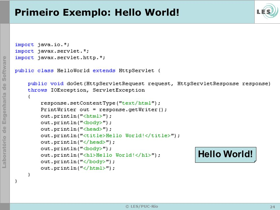 Primeiro Exemplo: Hello World!