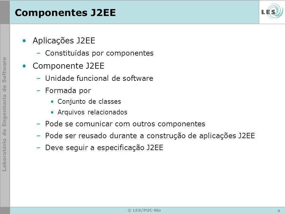 Componentes J2EE Aplicações J2EE Componente J2EE