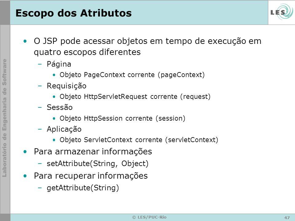 Escopo dos Atributos O JSP pode acessar objetos em tempo de execução em quatro escopos diferentes. Página.