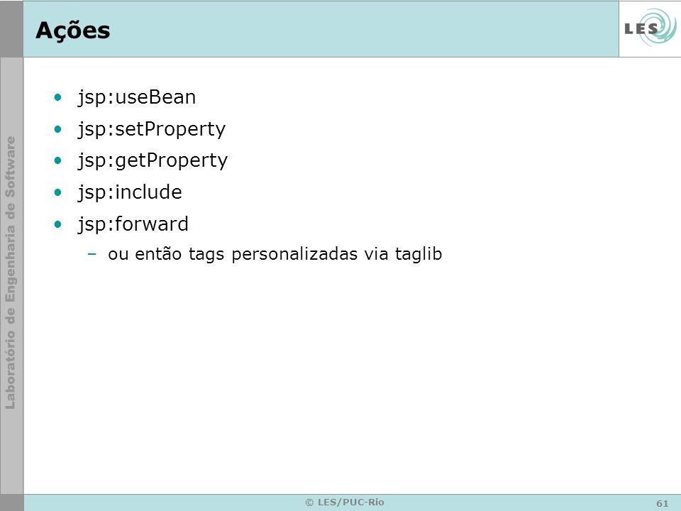 Ações jsp:useBean jsp:setProperty jsp:getProperty jsp:include