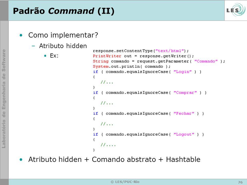 Padrão Command (II) Como implementar