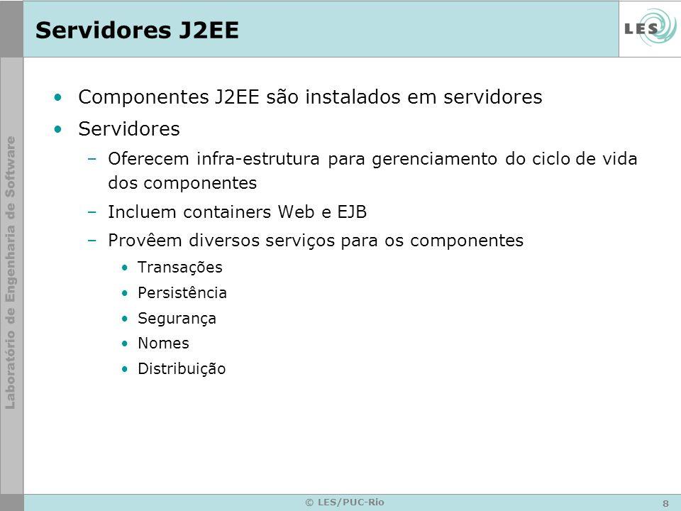 Servidores J2EE Componentes J2EE são instalados em servidores