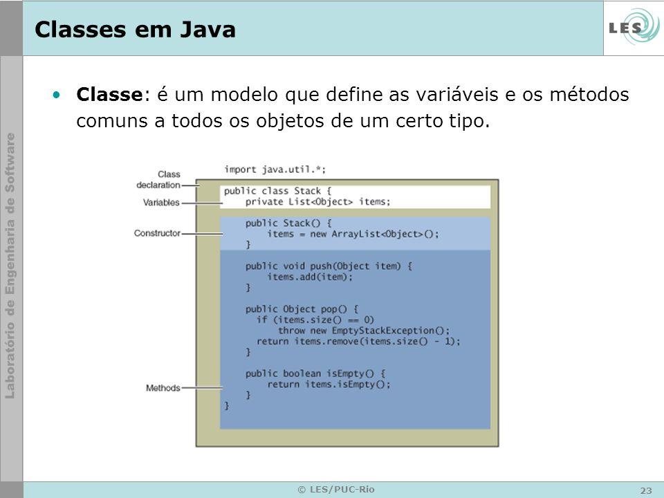 Classes em Java Classe: é um modelo que define as variáveis e os métodos comuns a todos os objetos de um certo tipo.