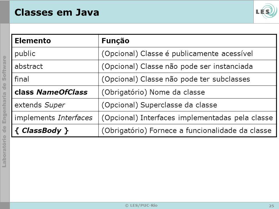 Classes em Java Elemento Função public