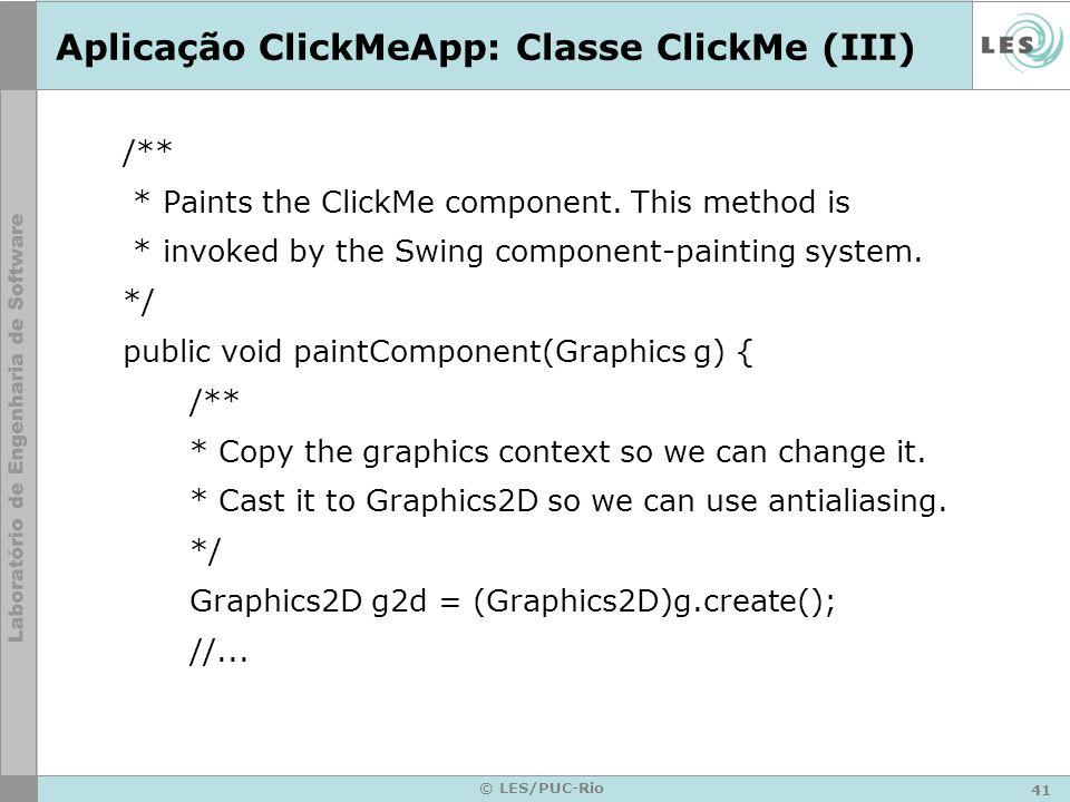 Aplicação ClickMeApp: Classe ClickMe (III)