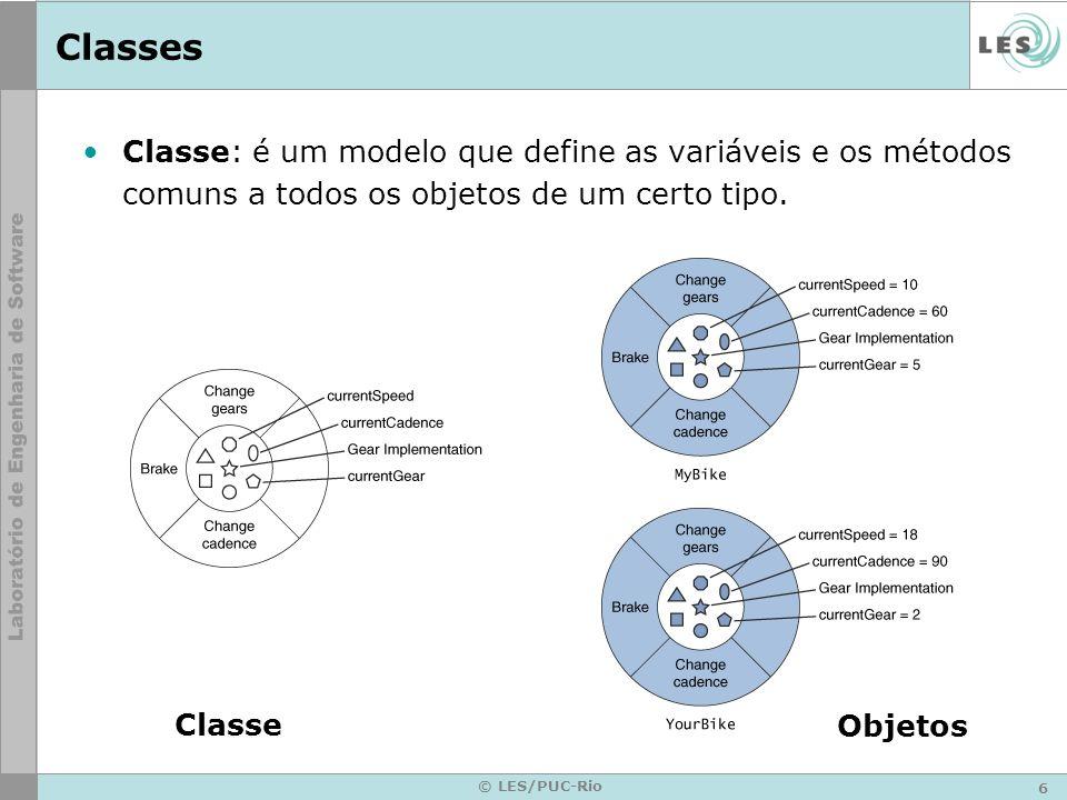 Classes Classe: é um modelo que define as variáveis e os métodos comuns a todos os objetos de um certo tipo.