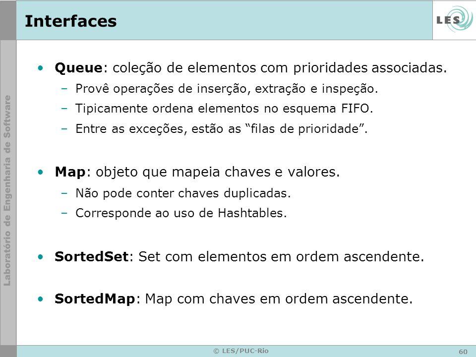 Interfaces Queue: coleção de elementos com prioridades associadas.
