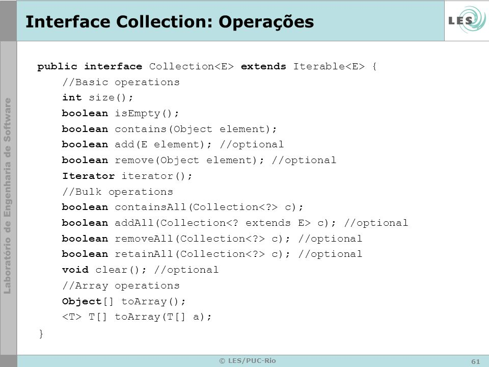 Interface Collection: Operações