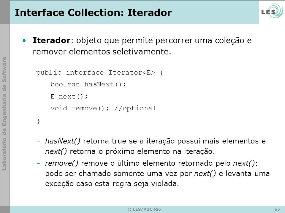 Interface Collection: Iterador