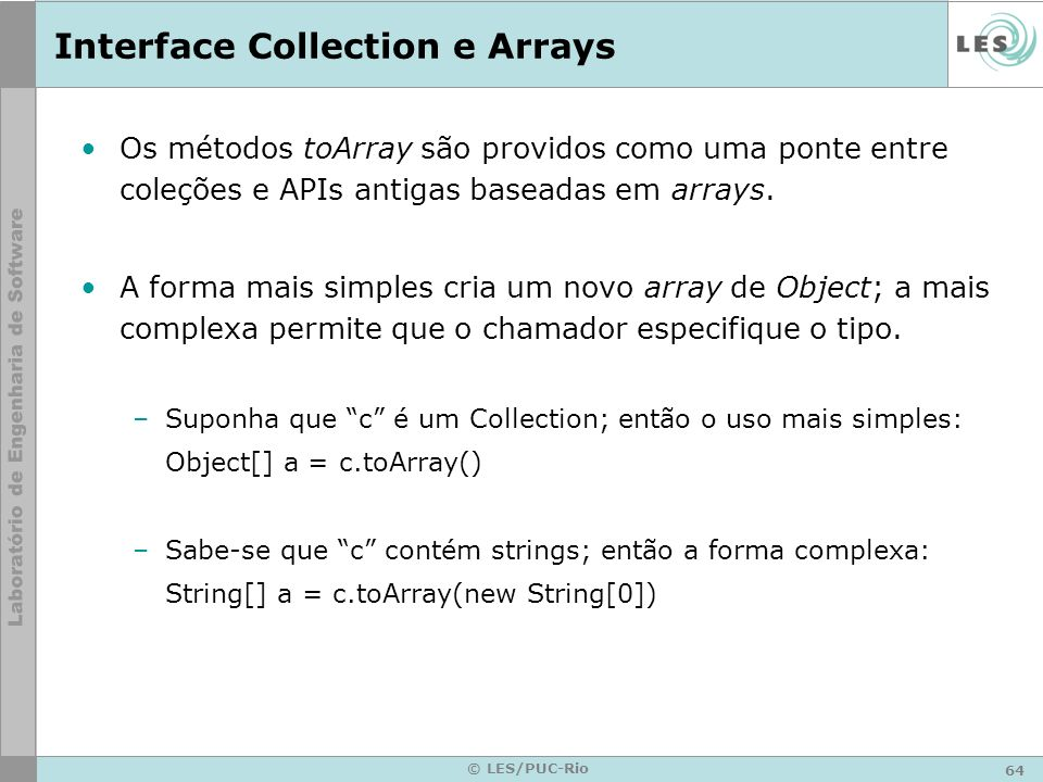 Interface Collection e Arrays