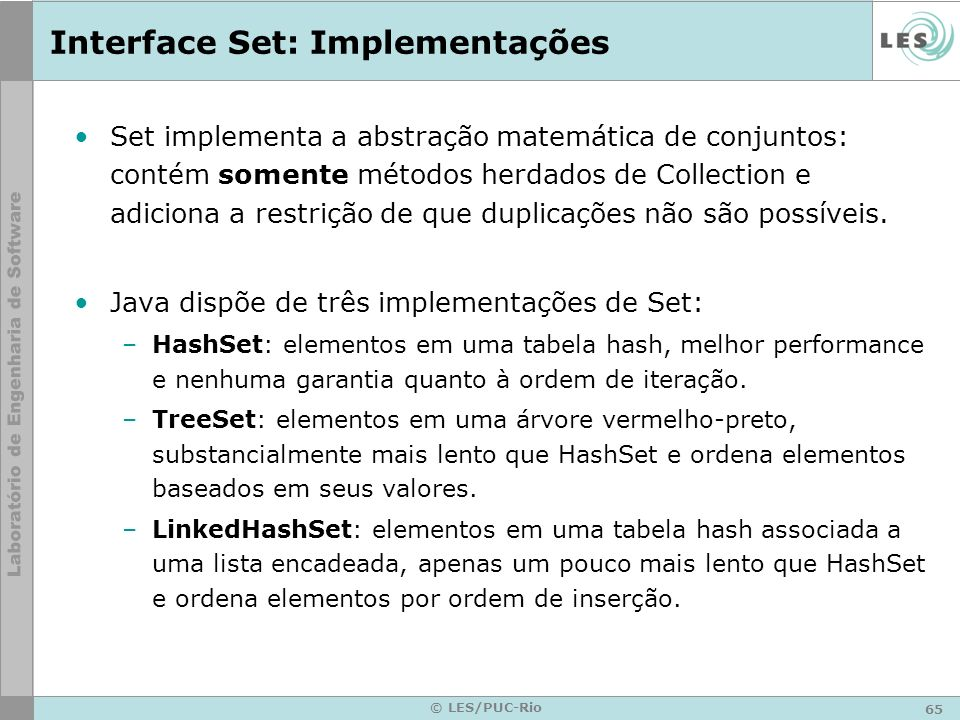 Interface Set: Implementações