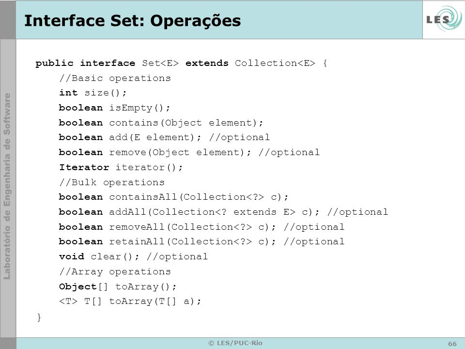 Interface Set: Operações