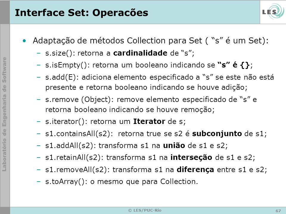 Interface Set: Operacões