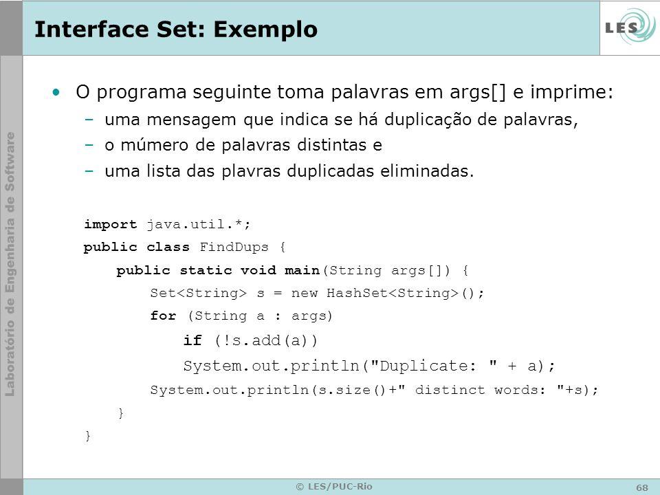 Interface Set: Exemplo