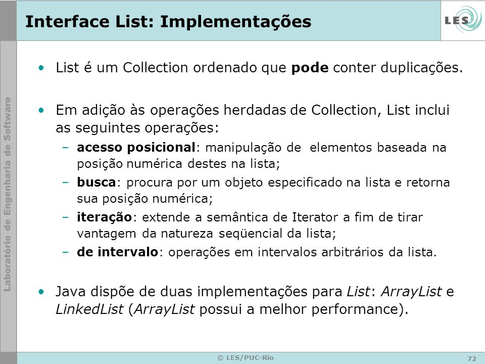 Interface List: Implementações