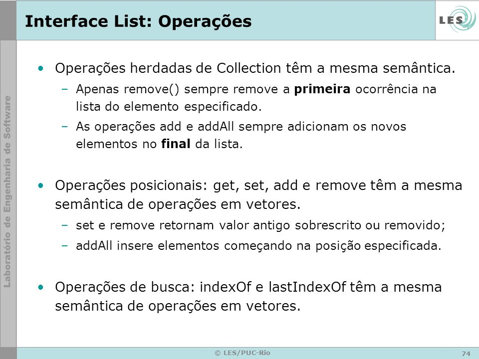 Interface List: Operações