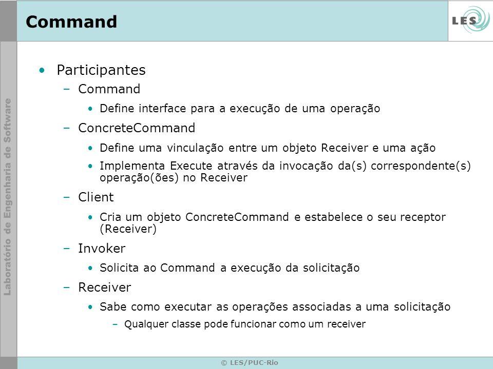 Command Participantes Command ConcreteCommand Client Invoker Receiver