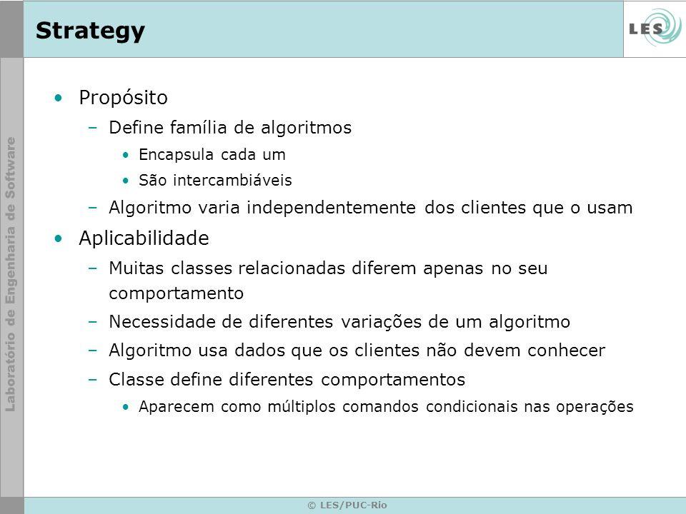 Strategy Propósito Aplicabilidade Define família de algoritmos