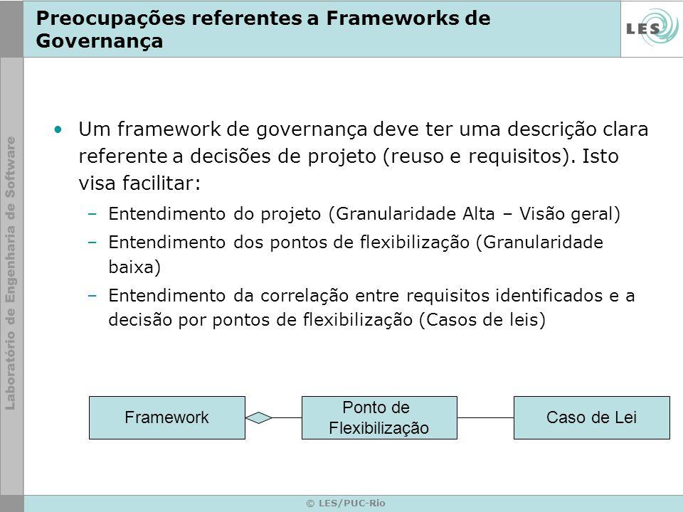 Preocupações referentes a Frameworks de Governança