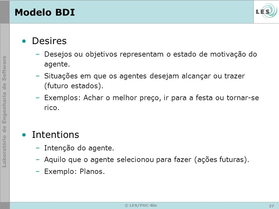 Modelo BDI Desires Intentions