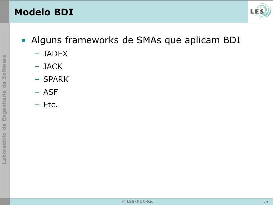 Alguns frameworks de SMAs que aplicam BDI