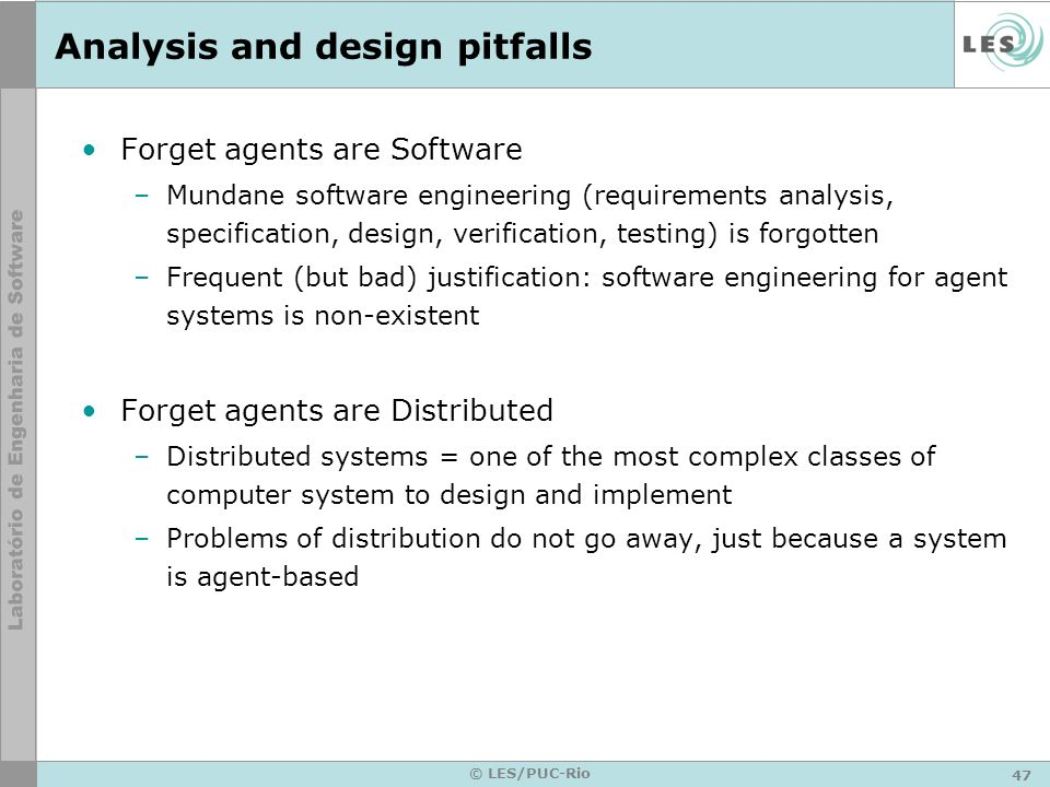 Analysis and design pitfalls