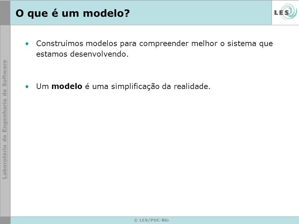O que é um modelo Construímos modelos para compreender melhor o sistema que estamos desenvolvendo.