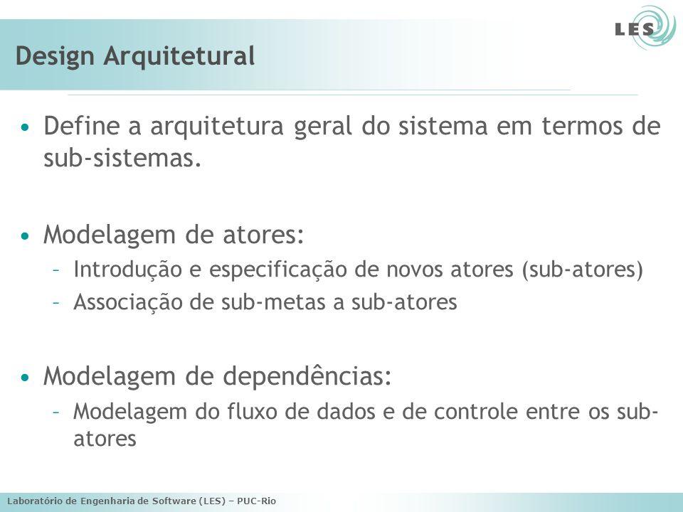 Define a arquitetura geral do sistema em termos de sub-sistemas.
