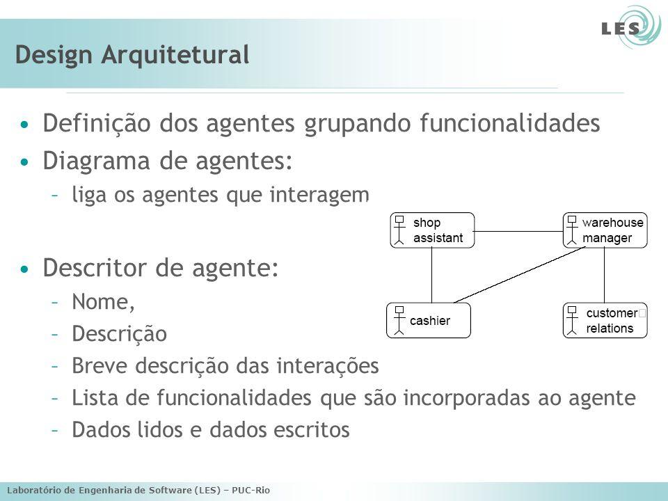 Definição dos agentes grupando funcionalidades Diagrama de agentes: