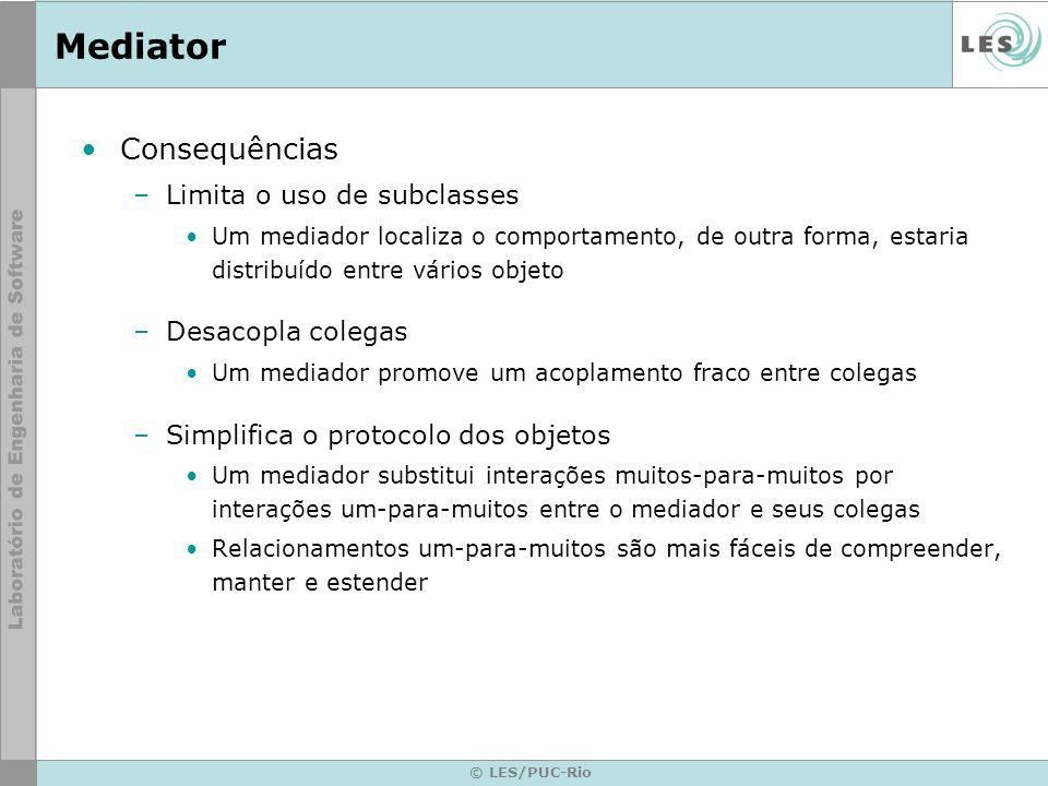 Mediator Consequências Limita o uso de subclasses Desacopla colegas