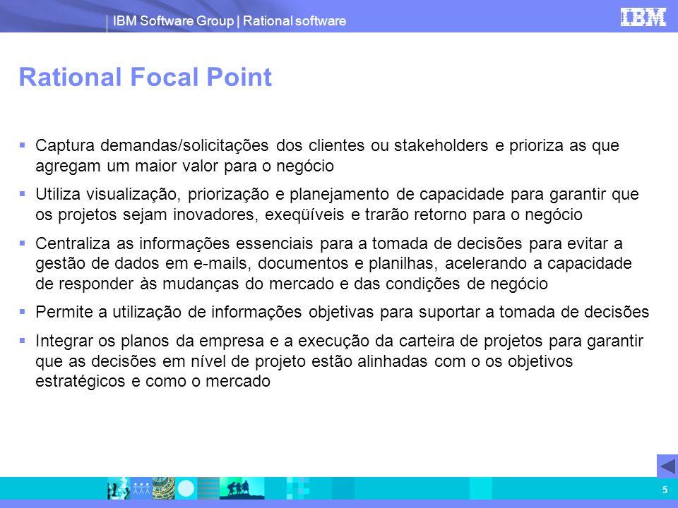 Rational Focal Point Captura demandas/solicitações dos clientes ou stakeholders e prioriza as que agregam um maior valor para o negócio.