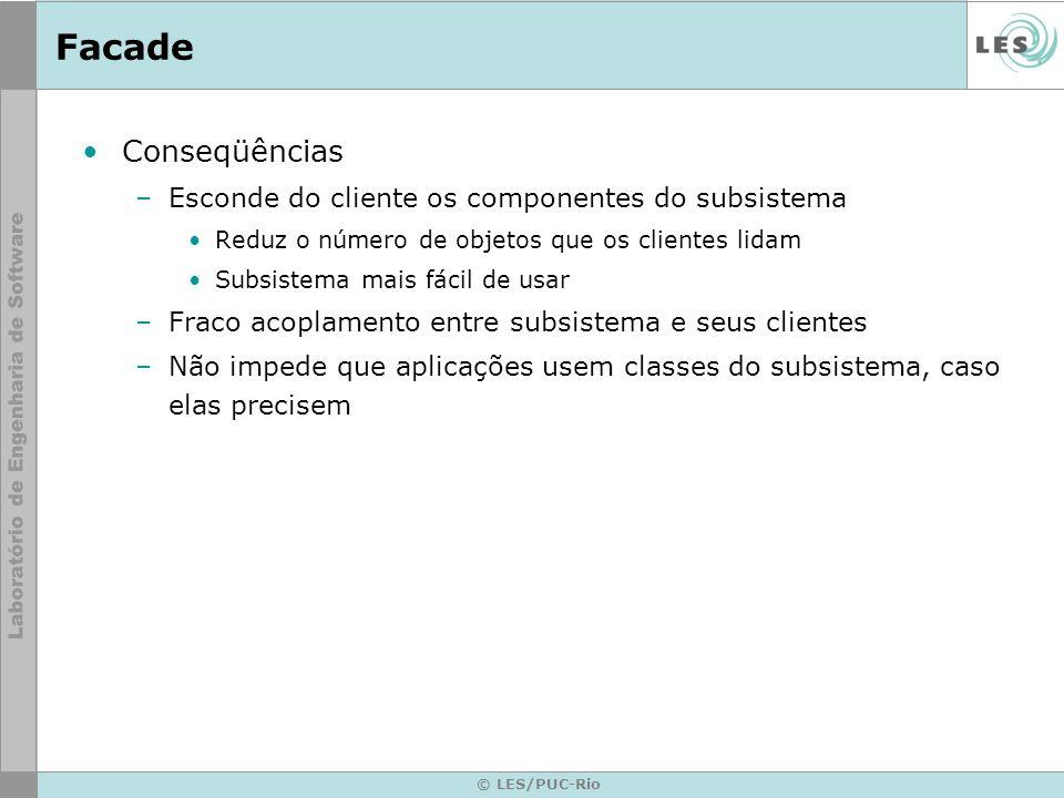 Facade Conseqüências Esconde do cliente os componentes do subsistema