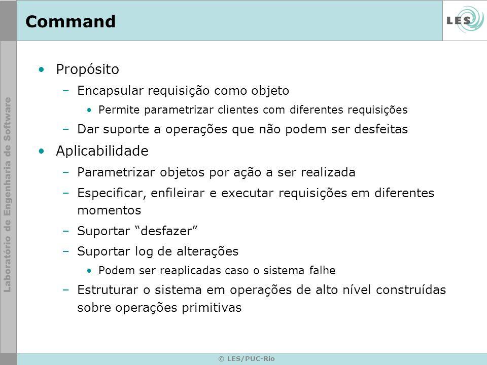Command Propósito Aplicabilidade Encapsular requisição como objeto