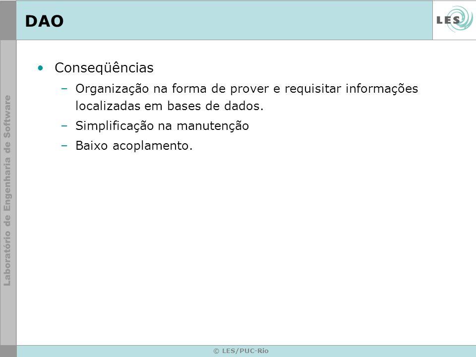 DAOConseqüências. Organização na forma de prover e requisitar informações localizadas em bases de dados.