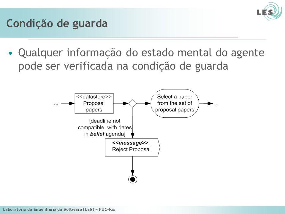 Condição de guarda Qualquer informação do estado mental do agente pode ser verificada na condição de guarda.