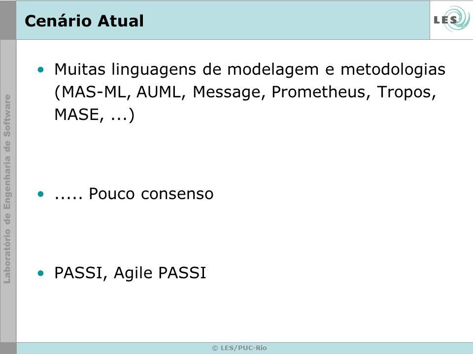Cenário Atual Muitas linguagens de modelagem e metodologias (MAS-ML, AUML, Message, Prometheus, Tropos, MASE, ...)
