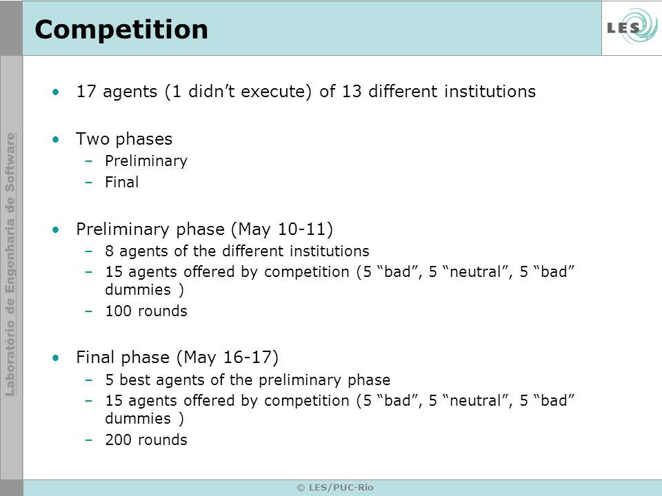 Competition 17 agents (1 didn't execute) of 13 different institutions