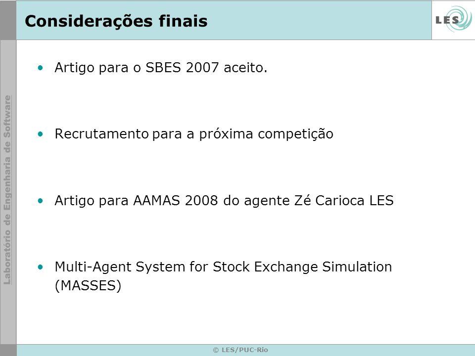 Considerações finais Artigo para o SBES 2007 aceito.