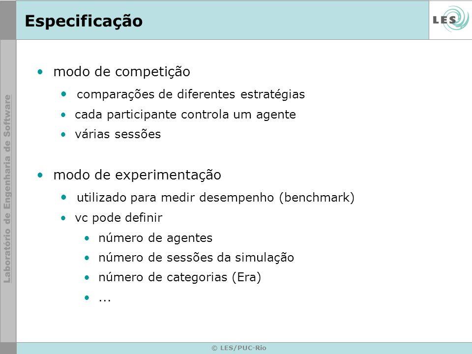 Especificação modo de competição comparações de diferentes estratégias