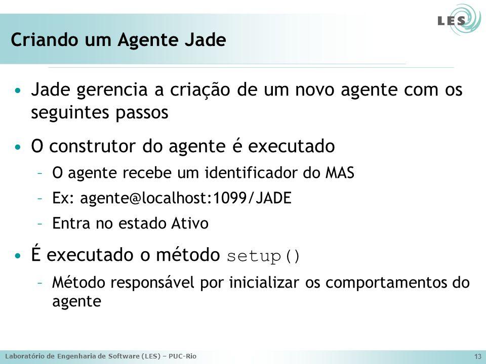 Jade gerencia a criação de um novo agente com os seguintes passos