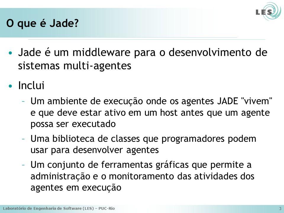 Jade é um middleware para o desenvolvimento de sistemas multi-agentes