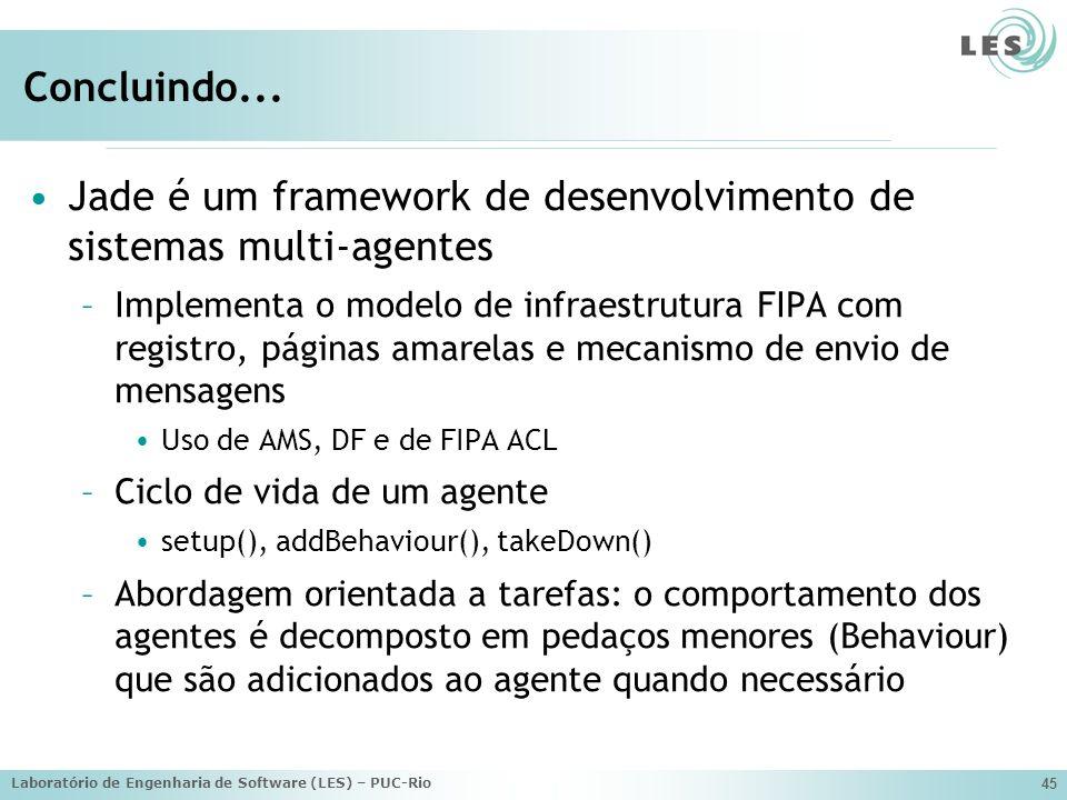 Jade é um framework de desenvolvimento de sistemas multi-agentes