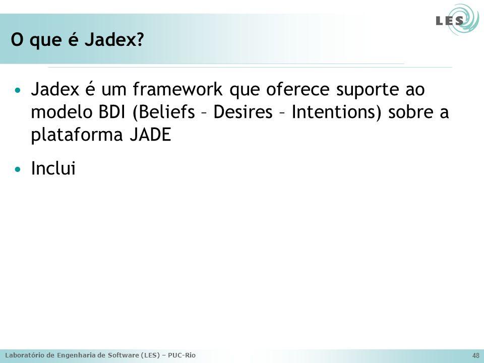 O que é Jadex Jadex é um framework que oferece suporte ao modelo BDI (Beliefs – Desires – Intentions) sobre a plataforma JADE.