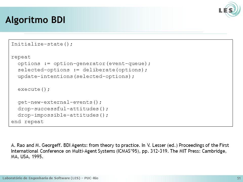 Algoritmo BDI Initialize-state(); repeat
