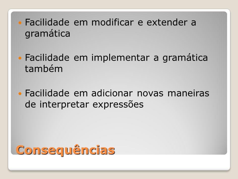 Consequências Facilidade em modificar e extender a gramática