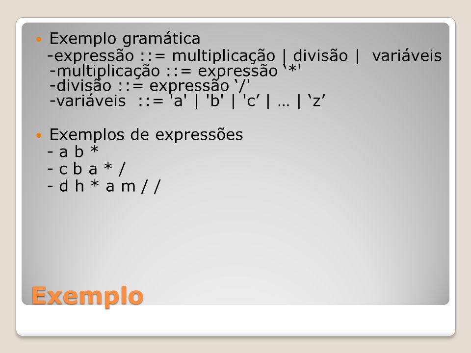 Exemplo Exemplo gramática