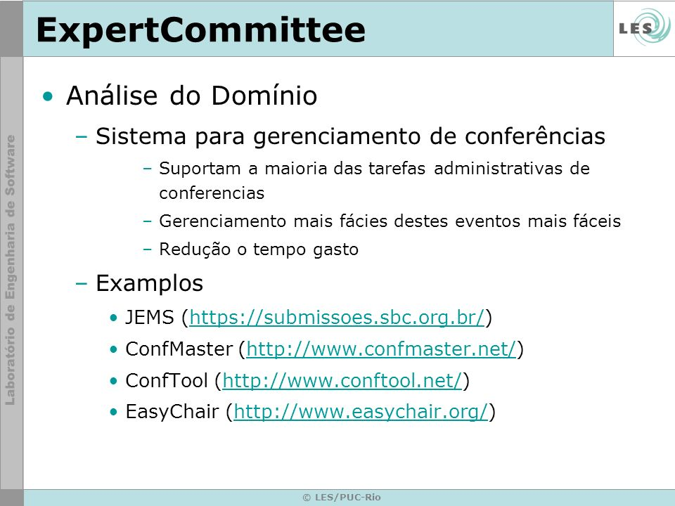 ExpertCommittee Análise do Domínio