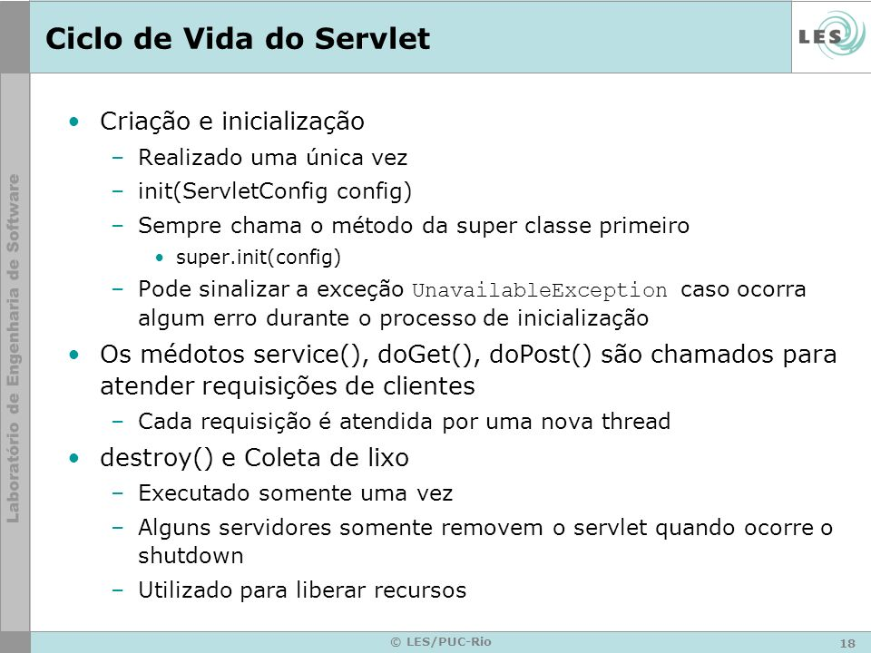 Ciclo de Vida do Servlet