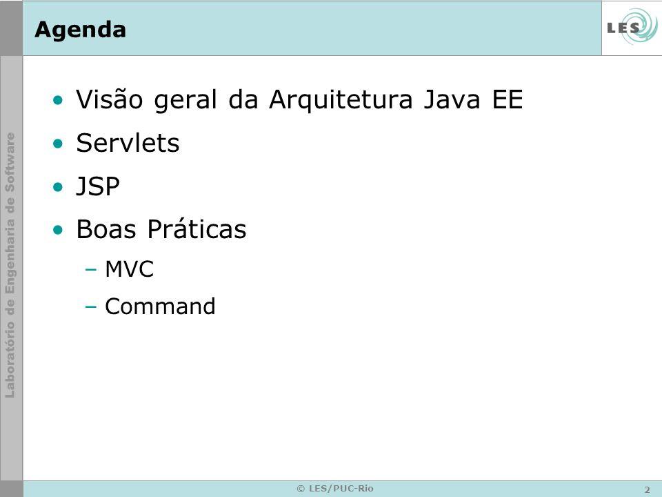 Visão geral da Arquitetura Java EE Servlets JSP Boas Práticas