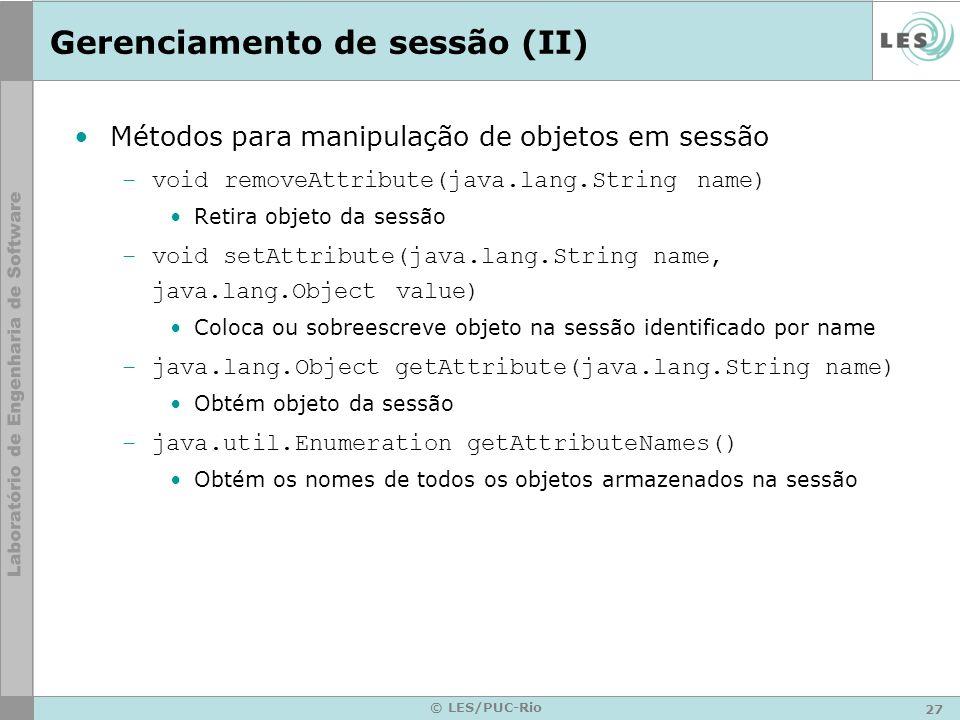 Gerenciamento de sessão (II)